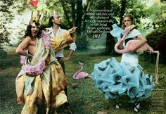 Photo Shoot from Vogue-  Natalia Vodianova starred in Annie Leibovitz's 'Alice in Wonderland.' This sartorial take on Lewis Carroll's classic paired Vodianova in one-of-a-kind pieces – created by the likes of Tom Ford, Marc Jacobs, Karl Lagerfeld, Viktor & Rolf, Donatella Versace, Christian Lacroix, Jean Paul Gaultier, Olivia Theyskens, Nicolas Ghesquiere, and John Galliano – alongside each designer.   This was done in 2003 but has remained a favourite shoot of mine.