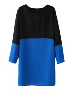 Two-tone Round-neck Loose Chiffon Shift Dress | BlackFive