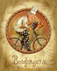 Chefs On Bikes-boulangerie. Chef riding his vintage bicycle from the market with a basket filled with fresh bread and his little dog. Fun artwork for the kitchen or dining room. Artist, Shari Warren.