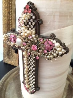Pink Crystal and Pearl Cross by Twice Loved Vintage  Wedding keepsake cross for the unity candle and later for home decor.  Great also for anniversaries, birthdays or gift giving. #weddings #bride #pink #unitycandle #vintagejewelry