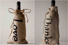 Burlap Bottle Bag - gotta make some of these for gifts Crafty Craft, Crafty Projects, Crafting, Creative Gifts, Cool Gifts, Craft Gifts, Diy Gifts, Do It Yourself Wedding, Burlap Bags