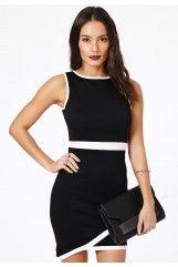 Kena Asymmetric Contrast Mini Dress