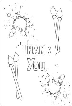 Art Party Color In Thank You Card By PurpleTrail Kidsbirthdaythankyoucards Colorinthankyoucards Kidsthankyoucards Coloringthankyoucards