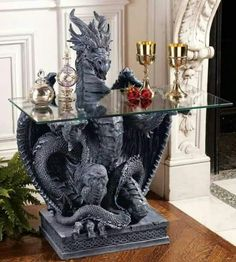Design Toscano The Subservient Dragon Gl Topped Sculptural Console Table