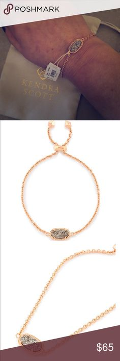 """KENDRA SCOTT Elaina 🌹 Gold in Platinum Drusy Whether you like your bracelets loose or close to the wrist, our Elaina Rose Gold Adjustable Chain Bracelet in Platinum Drusy is a delicate addition to any arm party.  • 14K Rose Gold Plated Over Brass • Size: 0.38""""L x 0.75""""W stationary pendant, 9""""L circumference • Adjustable sliding clasp closure • Material: platinum drusy*   Ask questions please. Normally Ships within 48hrs. Gift 🎁 w purchase. Poshmark Ambassador. Trusted seller. Kendra Scott…"""