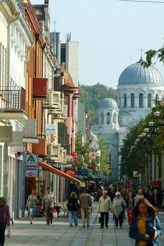 Kaunas Laisves Aleja once the capital of Lithuania between the wars