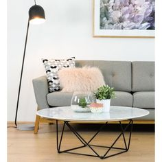 Robin Marble Coffee Table With Black Base