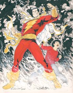 Captain Marvel and Billy Batson by Daniel Hdr Original Captain Marvel, Captain Marvel Shazam, Shazam Comic, Marvel Heroes, Marvel Dc, Marvel Comics, Dr Fate, Comic Manga, Dc Comics Characters