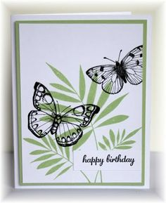 three ferns and antique flowers and butterflies, HA, Scrappin' and Stampin' in GJ Bird Cards, Butterfly Cards, Flower Cards, Beautiful Handmade Cards, Stamping Up Cards, Happy Birthday Cards, Card Birthday, Card Tags, Card Kit