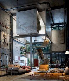 design - Awesome Tiny Apartment with Loft Space Ideas Loft Industrial, Industrial Apartment, Industrial Interior Design, Urban Apartment, Industrial Interiors, Vintage Industrial, Futuristic Interior, Futuristic Furniture, Loft Design