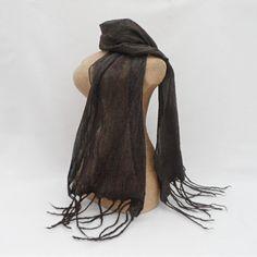Nuno cobweb felt scarf, glitzy mocha, wool on silk £20.00
