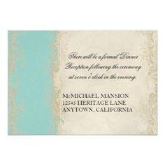 Blaue n Sahnespitze des barocken Art-Vintagen 8,9 X 12,7 Cm Einladungskarte