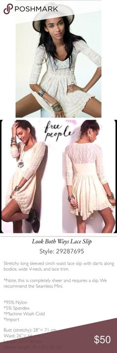 Free People Look Both Ways Lace Slip Beautiful free people lace slip/dress Brand new condition. Never worn. As stated above, it is sheer which gives so many options for wearing! ♦️sold out in stores♦️ feel free to ask questions !! Free People Dresses