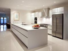 Modern island kitchen design using stainless steel - Kitchen Photo 504951