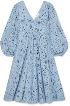 Light-blue broderie anglaise cotton Slips on cotton Machine wash Designer color: Forever Blue Cotton Slip, Satin Slip, Dress Outfits, Fashion Outfits, Robes Midi, Latest African Fashion Dresses, Himmelblau, Silk Crepe, Blue Dresses