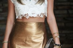lace crop top and golden skirt