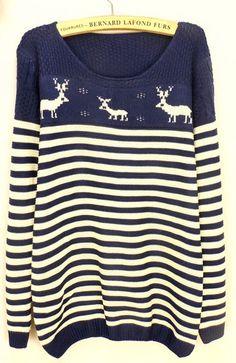 Navy Long Sleeve Stripe Deer Pattern Sweater - Sheinside.com