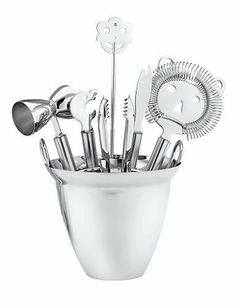 """WMF 7-Piece Stainless-Steel Bar Set by WMF. $98.72. Contemporary German design. Seven bar tools for home bartending. Hand wash with detergent. 18/10 stainless-steel construction. Includes ice bucket, strainer, stirrer, tongs, bar knife, bottle opener, and jigger"""". Amazon.com                This seven-piece bar set includes everything a home bartender needs to start mixing and entertaining. Boasting a contemporary German design, the set is made  entirely of high-quality 18/10..."""
