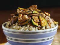 Chicken Hoisin Rice Bowl Recipe with Mushrooms & Zucchini -- Whip up these healthy hoisin chicken rice bowls in minutes. Crimini and shiitake mushrooms, and sliced zucchini add flavor and vitamins. I Love Food, Good Food, Yummy Food, Delicious Meals, Turkey Recipes, Chicken Recipes, Shrimp Recipes, Paella, Asian Recipes
