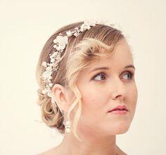 Parelmoer bloem kroon bruids bloem kroon bruiloft tiara met