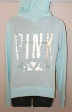 VICTORIA'S SECRET LOVE PINK HOODIE SEQUIN Sequence Sweater Jacket BLING Blue VS