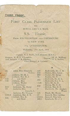 #Titanic First Class Passenger List.
