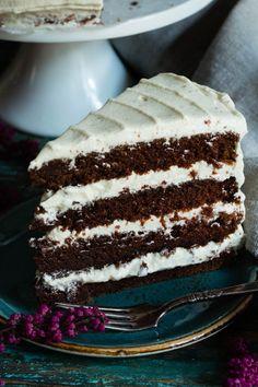 - Sjokolade og Spiced Kremostglasur - Chocolate-Coffee Cake with Spiced Cream Cheese Topping Chocolate Cake With Coffee, Coffee Cake, Cream Cheese Topping, Vanilla Cake, Tiramisu, Bakery, Spices, Ethnic Recipes, Desserts
