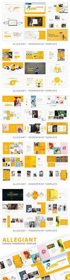 Allegiant - Fashion Presentation Template is a creative Presentation that is beautifully designed and functional. This slides comes with infographic elements, Brand Presentation, Presentation Layout, Presentation Slides, Presentation Templates, Office Wall Graphics, Food Promotion, Yearbook Design, Charts And Graphs, Slide Design