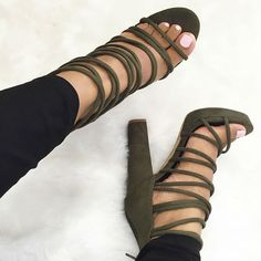 Caged Chunky Platform Heels