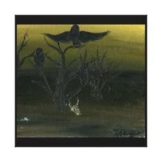 Skull Crow - Canvas Stretched...Skull, crow, crows, raven, tree, desert, dark, oil...Category, Animals, Wild, Birds, Crows