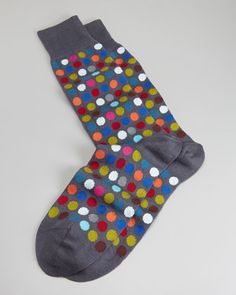 Multicolored Polka-Dot Men's Socks, Gray by Paul Smith at Neiman Marcus.