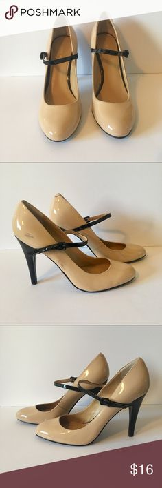 Beige Mary Jane Heels with Black Nine West Size7.5 Beige Patent Leather  Mary Jane fd637f730650