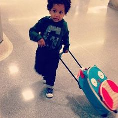 Spotted: Tia Mowry's son Cree sporting his Owl Luggage!