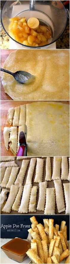 How To Make Apple Pie Fries Ingredients 1 Package of Pillsbury Refrigerated pie Crust ct. cups of Apple Pie Filling 1 . I Love Food, Good Food, Yummy Food, Yummy Yummy, Dessert Drinks, Dessert Recipes, Just Desserts, Delicious Desserts, Fried Apple Pies