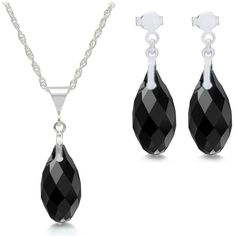 Black Briolette Crystal Pendant & Earrings Sterling Silver Set ($289) ❤ liked on Polyvore featuring jewelry, earrings, necklaces, sterling silver pendant, sterling silver jewellery, earring pendants, crystal pendant and crystal stone jewelry