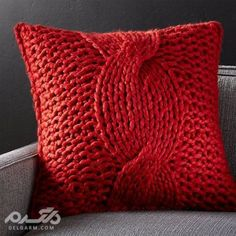 Shop Red Chunky Knit Pillow with Down-Alternative Inser. Cozy up to our red sweater-like pillow, hand knitted of chunky wool-blend yarn in an oversized cable pattern. Layer with our selection of neutral, textured pillows for a chic monochrome look. Knitted Cushion Pattern, Knitted Cushions, Knitted Throws, Crate And Barrel, Red Pillows, Throw Pillows, Pillow Texture, Knit Pillow, Christmas Pillow