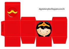 Cajas Cubo de Super Héroes para Imprimir Gratis. Superhero Birthday Party, Birthday Treats, 6th Birthday Parties, Wonder Woman Birthday, Wonder Woman Party, Anniversaire Wonder Woman, Card Making Templates, Hero Girl, Party In A Box