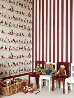 The gorgeous Catherine Martin wallpaper theme that I used for Charli's nursery. We chose 1 feature wall & did the top 2/3 in the circus print and the bottom third in the stripes - Loveit