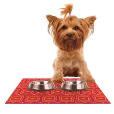 "Kess InHouse Nandita Singh ""Bright Squares"" Red Pink Feeding Mat for Pet Bowl, 24 by 15-Inch >>> Click image to read more details."