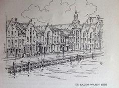 Pentekening van Anton Pieck, Brood uit het water. 1946. Zicht op Vlaardingen