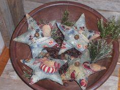 4 Primitive Christmas Snowman Blue Stars Bowl Fillers Ornies Ornaments Tucks #Primitive #ChooseMoosePrimitiveDesigns