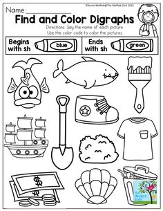 Find and Color Digraphs- Say the name of each picture. Use the color code to color beginning and ending sh digraphs. TONS of activities to help make learning digraphs FUN!