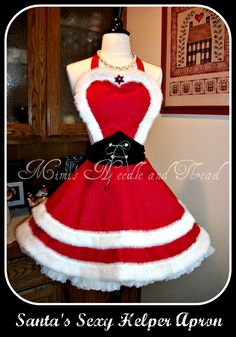 """Sexy apron for Christmas, made by Mimi's Needle and Thread. Hergestellt von Mimis """"Needle and Thread"""" (=Nadel und Faden). I like the shape of the waist cincher Christmas Aprons, Christmas Sewing, Christmas Costumes, Xmas, Cute Aprons, Decoration Inspiration, Sewing Aprons, Clothes Crafts, Holiday Outfits"""