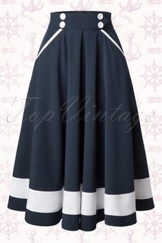 Miss Candyfloss 50s Petra Sailor Swing Skirt in Navy