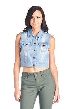 SALE PRICE - $15.99 - Blue Age Womens Denim Jean Jacket and Sleeveless Vest