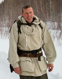 Barry Smith wearing Swedish Army Snow Smock.