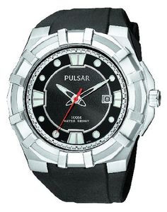 Pulsar Men's PXH633 Sport Silver-Tone Black Resin Strap Watch. Quality Japanese-quartz movement. Date window at three o'clock. Silver-tone stainless steel. Hardlex crystal. Water resistant to 330 feet (100 M): suitable for snorkeling, as well as swimming, but not diving.