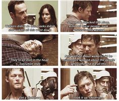 The Walking Dead Deleted Scene from Season 2 Premiere, they go back to the Vatos and everyone in the nursing home was executed. Daryl really owns Andrea in this scene. I wished they left it in. But it's on YouTube:) Go to 6:13