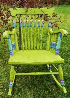 Love the colors aqua & lavender on this green chair.
