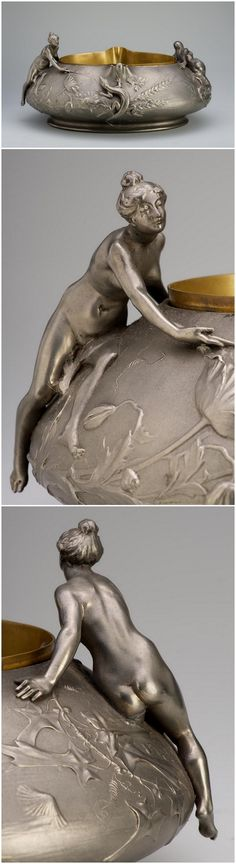 Centrepiece - with the allegory of Earth and Water. Artist/Maker: Brateau, Jules-Paul (1844-1923). Date: ca. 1890. Place of production: Paris. Materials: pewter; brass inside. Techniques: cast; partially matted. | Museum of Applied Arts, Budapest, ˆ 2015ˆˆ